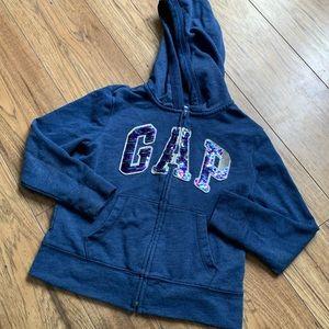 girls Gap navy blue zip up sweater + pockets